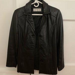Vintage black leather jacket Size S
